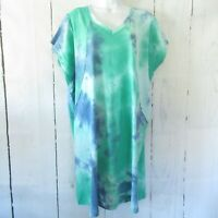 New Gigio By Umgee Dress M Medium Tie Dye Oversized T Shirt Tunic Pockets Green