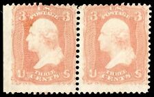 Us Sc# 65 *Unused H* { 3c Washington Pair } Beauty Rose Shade Of 1861 Series