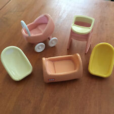 Vintage Little Tikes Dollhouse Pink Baby Items Highchair Stroller Cradle Bed ++