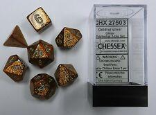 Chessex 7 Dice Set Glitter Gold w/ Silver CHX 27503 for D&D & D20