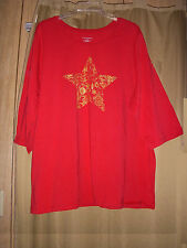 3X 26/28 Catherines Tee Top Christmas Star Red T-Knit Studs Holiday LS NWT 3X