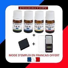 TESTEUR OR 4 FLACONS PRET A L'EMPLOI 14 18 24+ARG+ PIERRE DE TOUCHE+BALANCE 0.01