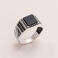 Yemeni Black Aqeeq Onyx Mens Ring 925 Sterling Silver Ottoman Handmade Jewelry
