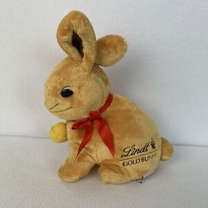 """Vintage Lindt Chocolate Gold Bunny Rabbit W/Bell Hidden Pouch Soft Plush Toy 14"""""""