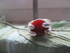 Ring 70er J.Style 835 Silber gepunzt B Karneol rot Retro Rg 55/15 Shabbychic