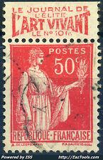 FRANCE TYPE PAIX N° 283 BANDELETTE PUB L'ART VIVANT AVEC OBLITERATION