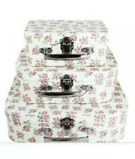 3 WHITE ROSE PRINT STORAGE SUITCASE BOXES CRAFTS 🌸 Memory Toys Girls Lunch Box