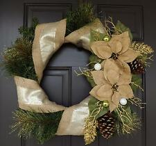 """23""""Hand made Unique Beautiful Christmas green gold burlap colors - Christmas tre"""