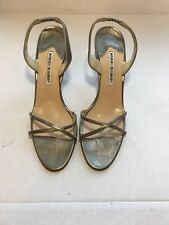 Manolo Blahnik Metallic Sling Back Sandals Size 41 (US 10)