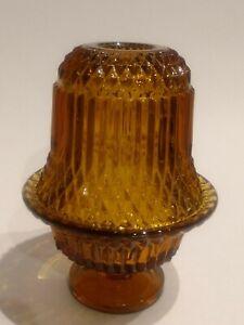 Vintage Indiana Glass Fairy Lamp Amber Tiara Diamond Point