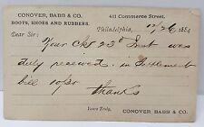 CONOVER, BABB & CO. BOOTS & SHOES, Philadelphia 1884 Postal Card Juniata County