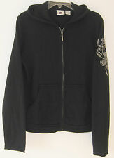 Hard Rock 100% Cashmere Embroidery Hood Kangaroo-Pouch Zip Cardigan Sweater ~~ M