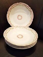 """5 Antique Bawo & Dotter Elite Limoges Pink Roses Green Lauren Swag 7.5"""" Bowls"""