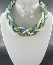 Cream Faux Pearl With Blue & Gold Tone Snake Link Braided Necklace Earring Set