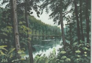 "aceo original acrylic Calm, Still Waters""  by J. Hutson"