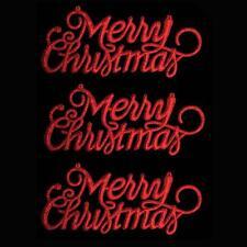 """Decoración de Navidad de 3 Paquete de brillo """"Feliz Navidad"""" signos-Rojo"""