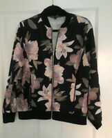 QED LONDON LADIES ZIP UP FLORAL BOMBER JACKET SIZE 12