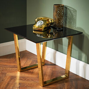 Antibes Gold Frame Living & Dining Room Range - Tables ,Black & white Chairs -