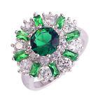 Noble AAA Emerald Quartz & White Topaz Gemstones Silver Ring Size 7 8 9 10 11 12