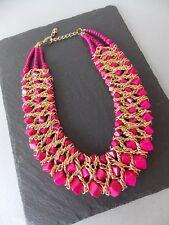 Rosa Brillante Con Perline Collare Collana Statement stile-UK Venditore