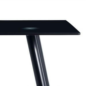 Dining Table Chairs Set Black Rectangle Glass Table 4 Elegant Stripping Texture