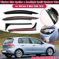 2x Headlight Eyelid Eyebrow Trims & Window Side Spoiler Gloss For VW Golf 6 MK6