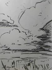 JOSE TRUJILLO ABSTRACT MODERN SIGNED ORIGINAL CHARCOAL DRAWING LARGE CLOUDS SKY