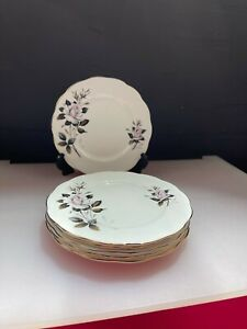"6 x Royal Albert Queens Messenger Salad Plates 8.25"" Wide Set"