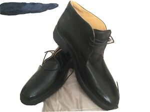 Men Bally Black Ankle Leather portoveno Boots Made in ITALY new
