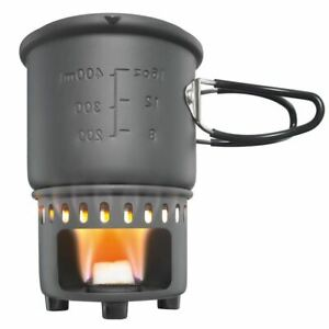 Esbit Solid Fuel Stove & Trekking Cookset w/Windscreen & 585ml Pot w/Lid