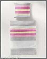 2 tlg. Bierbaum-Seersucker Bettwäsche Streifen pink silber, bügelfrei #6685/02