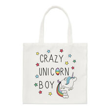 Crazy Unicorn Boy Regular Tote Bag Funny Rainbows Shoulder Shopper