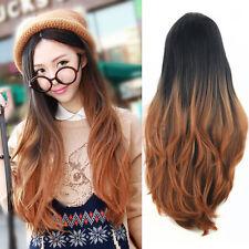 Femmes Mode Noir Brun Cheveux Longue Ondulé Bouclé Perruque Complète Frisé Wig