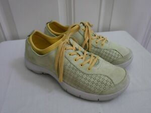 DANSKO ELISE 9.5 10 40 Green Yellow Suede Lace Up Sneakers Oxfords Clogs Shoes