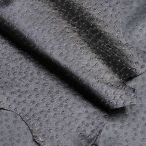 Black Ostrich Kid Hide, 3.5sq ft, 0.4-0.6mm thick, for purses, wallets and bags