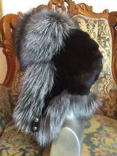 Saga Silver Fox Fur Full Hat Ushanka Black Mink On Top