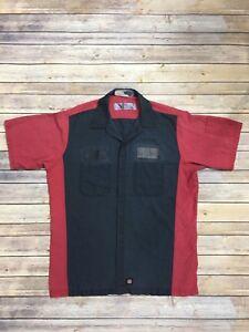 Red Kap Crew Shirts Two Tone Mechanic Technician Automotive Industrial Uniform