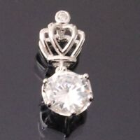 1 Ct Round Cut Solitaire Diamond Pendant Crown Jewelry 14k White Gold Gift