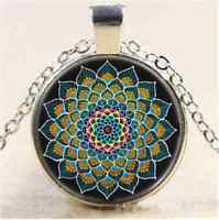 Peacock Mandala Photo Cabochon Glass Tibet Silver Chain Pendant  Necklace