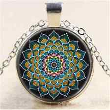 Peacock Mandala Photo Cabochon Glass Tibet Silver Chain Pendant  Necklace