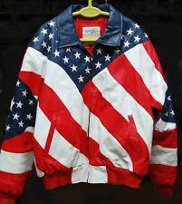 MICHAEL HOBAN STARS STRIPES FLAG LEATHER JACKET COAT EXCELLED LARGE USA