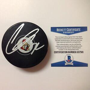 Thomas Chabot Signed Autographed Ottawa Senators Hockey Puck Beckett BAS COA a
