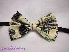 100 Dollar Bill Bow Tie - Money Print Bowtie Adjustable Strap Green Wedding