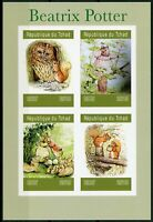 Chad 2019 MNH Beatrix Potter 4v IMPF M/S I Owls Squirrels Rabbits Animals Stamps