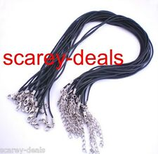 4 x BLACK 2mm rubber cord NECKLACES  Clasps + ext chain just add pendants