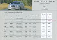 3068MB Mercedes C-Klasse Limousine Preisliste 2002 25.3.02 price list prijslijst