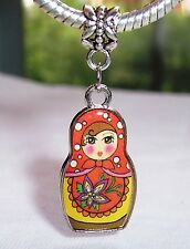 Red Russian Doll Russia Trip Toy Dangle Charm for Silver European Bead Bracelets