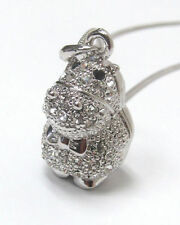 NEW Crystal White Gold Plated Hippo Hippopotamus Bow Charm Necklace