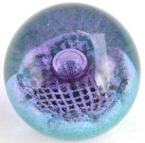 CAITHNESS Purple Black Teal FLOWER OF SCOTLAND Art Glass PAPERWEIGHT A Macintosh