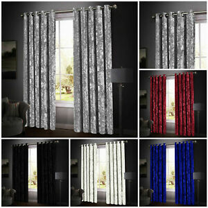 New Beautiful Heavy crushed velvet Ready Made SANTIAGO Curtains with Tiebacks